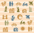 Travel and landmarks icons Royalty Free Stock Images