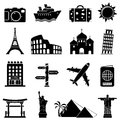 Travel and landmarks icons isolated on white background Royalty Free Stock Photography