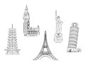 Travel landmarks set in sketch style for trip and journey concept design Stock Photo