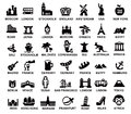 Travel and landmarks vector black icons set Royalty Free Stock Photos