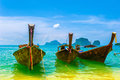 Travel landscape beach blue water sky summer thailand nature beautiful island traditional wooden boat scenery tropical paradise Stock Photography