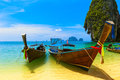 Travel landscape beach blue water sky summer thailand nature beautiful island traditional wooden boat scenery tropical paradise Stock Images