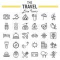 Travel line icon set, tourism symbols collection
