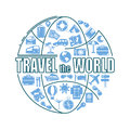 Travel line icons in globe shape. Travel the world - vector illustration concept for cover card, brochure or magazine Royalty Free Stock Photo