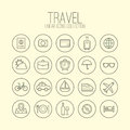 Travel linear icons collection set Royalty Free Stock Photos