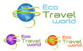 Travel logo eco world map hand people symbol Royalty Free Stock Image
