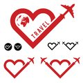 Travel love in heart icon set illustration Royalty Free Stock Photo