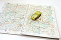 Travel on the map on the car. Royalty Free Stock Photo