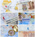 Travel montage collage of materials with map airplane compass and destinations Royalty Free Stock Photography
