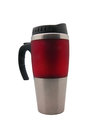 Travel mug stainless steel and red on white background Stock Images
