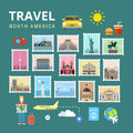 Travel north america usa canada flat vector travel tourism picture gallery template style sightseeing poi landmark world famous Royalty Free Stock Image