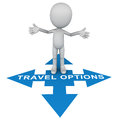Travel options confused traveler with many and destinations little d man thinking where how and why to go Royalty Free Stock Photos