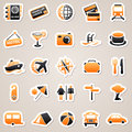Travel orange stickers icons for web design set of Stock Photos