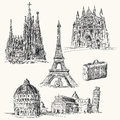 Travel over europe hand drawn collection Royalty Free Stock Image