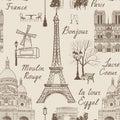 Travel Paris seamless pattern. Vacation in Europe wallpaper. Royalty Free Stock Photo