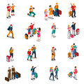 Travel People Isometric Icons Royalty Free Stock Photo