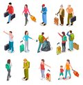 Travel people isometric set. Men, women and kids with luggage. Tourist family, passengers and baggage. Tourism vector