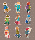 Travel people stickers Stock Images