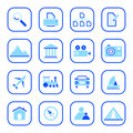 Travel and Photo icons - blue series Royalty Free Stock Photo