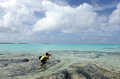 Travel photographer photographing aitutaki lagoon cook islands and explores the nature and landscape of Stock Photography