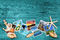 Travel photos and seashells Royalty Free Stock Photo