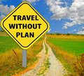 Travel without plan no  destination, yellow road sing and long road - 3d rendering Royalty Free Stock Photo