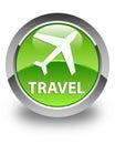 Travel (plane icon) glossy green round button