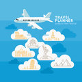 Travel Planner Around The World. Airplane with cloud landmark