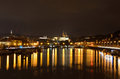 Travel in prague at night the panorama view overt the old district wonderful city of by Royalty Free Stock Photography