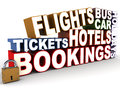 Travel related booking words collection flights bus car hotels tickets bookings and holidays Stock Photo