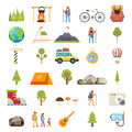 Travel Rest Symbols Tourist Accessories Icons Set Flat Design Template Vector Illustration Royalty Free Stock Photo