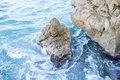 Travel, Rocks by the Mediterranean sea on the island of Ibiza in Royalty Free Stock Photo