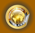 Travel Round the World Symbol with Golden Globe Symbol Label