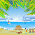 Travel the sea yachts palm trees furlough ocean and and holidays in hot countries Stock Photography