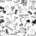 Travel seamless background. Hand drawn summer holidays pattern. Vector