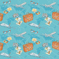 Travel seamless pattern Stock Photos