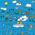 Travel-seamless-pattern-illustration Stock Image