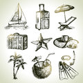 Travel set hand drawn illustrations Royalty Free Stock Photo