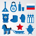 Travel set of various stylized russian icons black, blue, red illustration Royalty Free Stock Photo