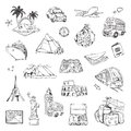 Travel, sketches of vector icons