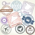 Travel stamps set Barcelona, Catalonia and Spain Royalty Free Stock Photo