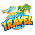 Travel sticker sign with palms and airplane on white background Royalty Free Stock Photography