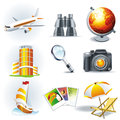 Travel stickers jorney symbols set vector Stock Photo