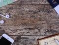 Travel stuff on wooden table Stock Photo