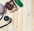 Travel stuffs on wood with copy space background. Royalty Free Stock Photo