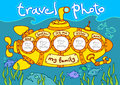 Travel in submarine photo photo frame – my family Royalty Free Stock Image