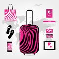 Travel suitcase with set of icons pink zebra style this is file eps format Royalty Free Stock Photography