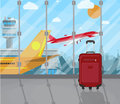 Travel suitcases inside of airport