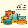 Travel suitcases over white background vector illustration Stock Images