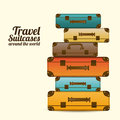 Travel suitcases over white background vector illustration Royalty Free Stock Image